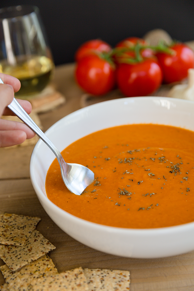 Tuscan Tomato Bisque In The Vitamix Recipe Tomato Bisque Vitamix Soup Recipes Food Recipes