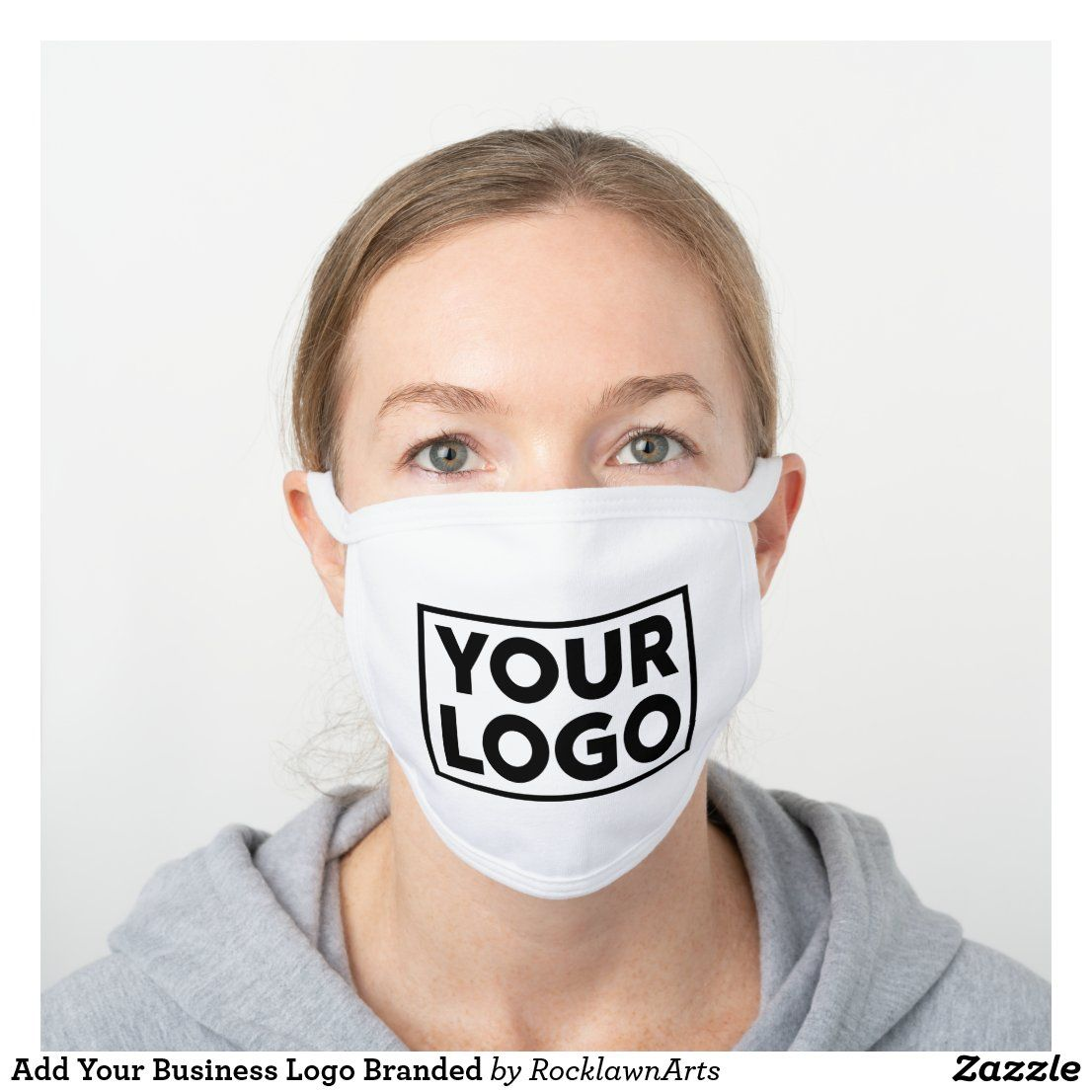 Add Your Business Logo Branded White Cotton Face Mask | Zazzle.com