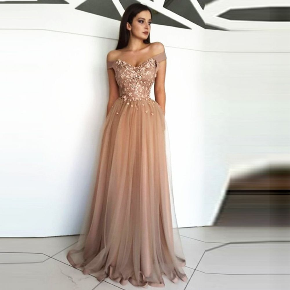 Robe Pink Lace See Through Sheer Chiffon A-line Evening Dress 2017 Long De Soiree Prom Party Gowns Refreshment Evening Dresses