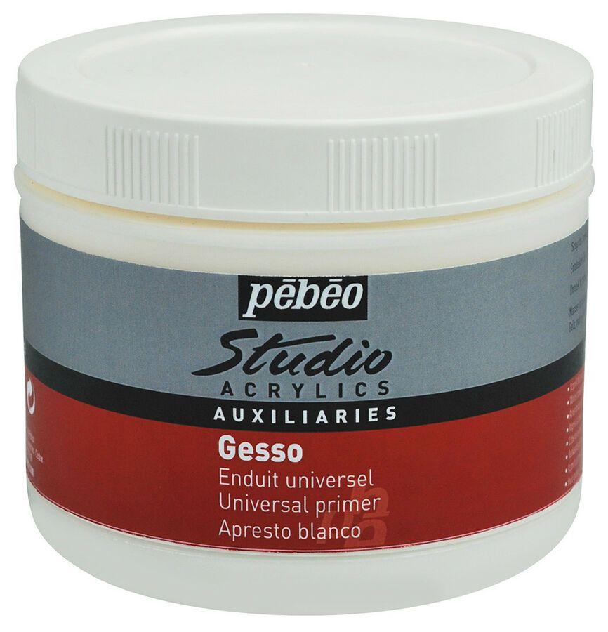 Pebeo Studio Acrylic Auxiliaries Gesso Paint Primer In White 500ml Primer Acrylic Paint Primer