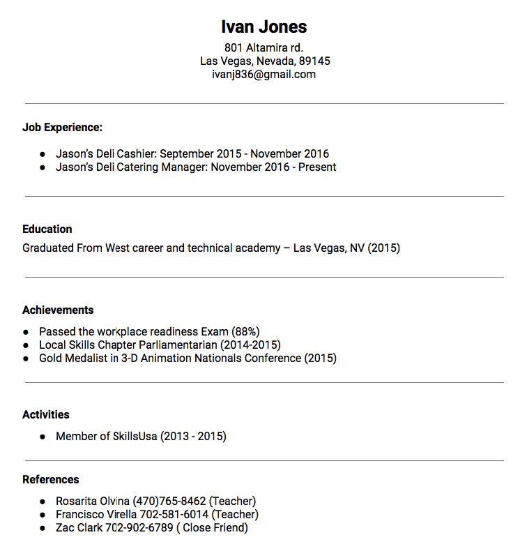 Catering Manager Resume Sample Ivan Jones 801 Altamira rd Las Vegas
