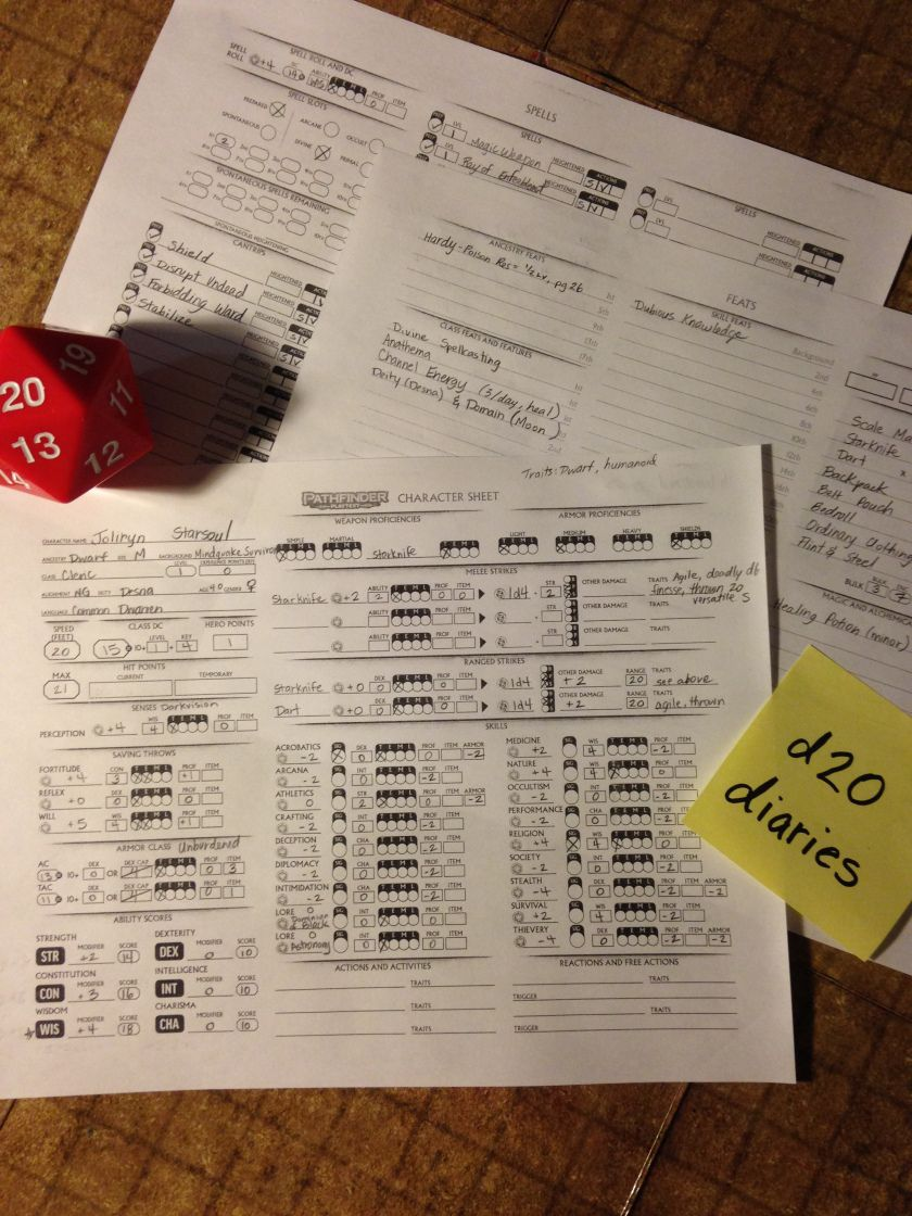 Pathfinder Playtest, character sheets, RPG adventure, dice, www