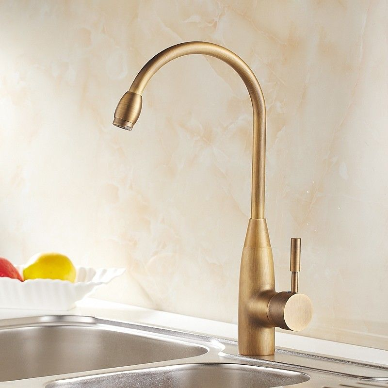 Stev Classic Antique Brass Goosenecked Single Handle 1 Hole Kitchen Faucet Solid Brass Brass Kitchen Faucet Antique Brass Kitchen Faucet Kitchen Faucet