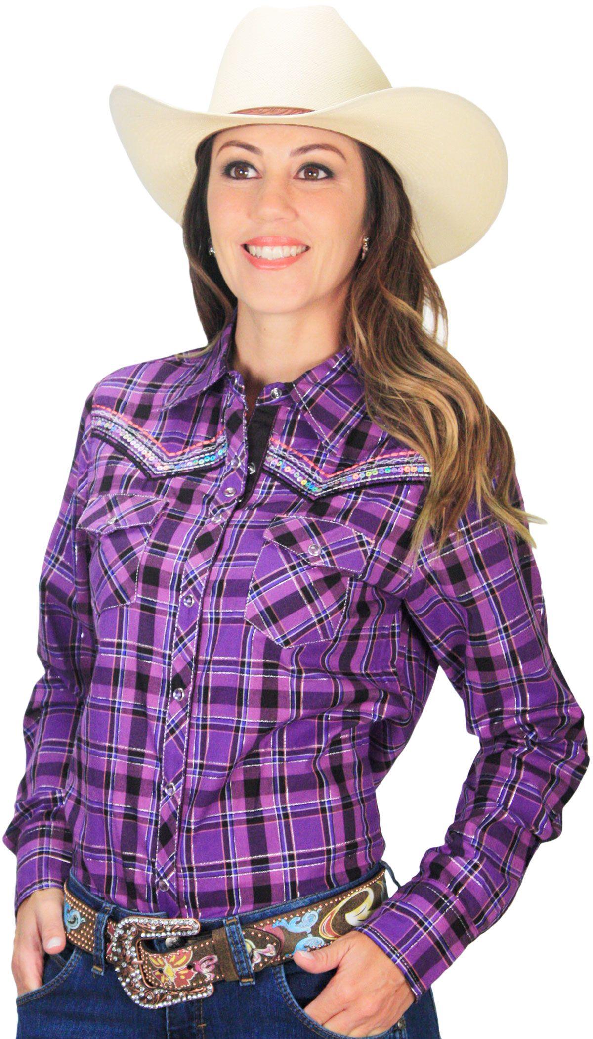 b6e9dad723 Camisa Feminina Country Xadrez Cowgirl Up Roxa com Lilás Camisa feminina  xadrez