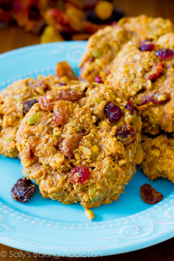 Healthy Breakfast Cookies! Forgot the maple syrup, made my own apple sauce, subbed cherries for cranberries and half the pumpkin seeds for sunflower seeds. Still ended up pretty decent.