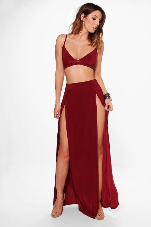 6c448307f396 Slinky Bralet And Split Maxi Skirt Co-Ord | Products | Skirt co ord ...