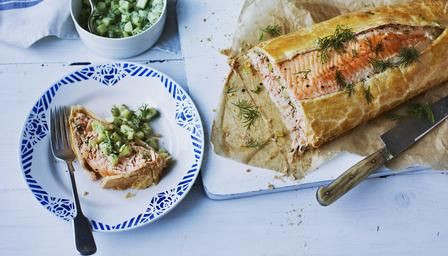 Salmon wellington recipe salmon recipes and foods bbc food recipes salmon wellington forumfinder Gallery