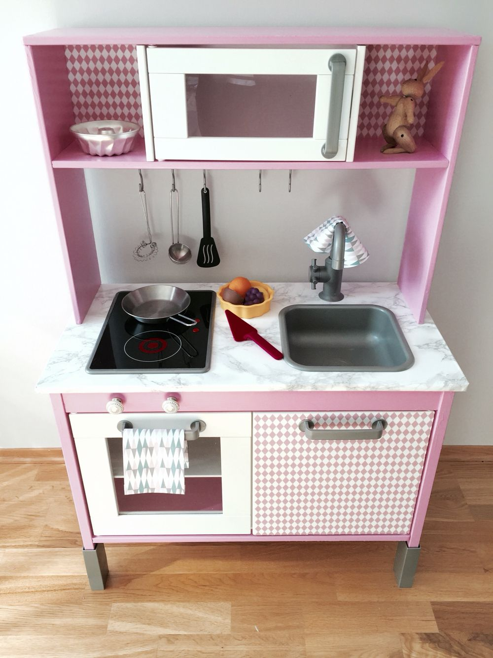 DIY Duktig IKEA Kitchen Hack In Pink And Grey. Decor From Panduro. Girl  Edition.