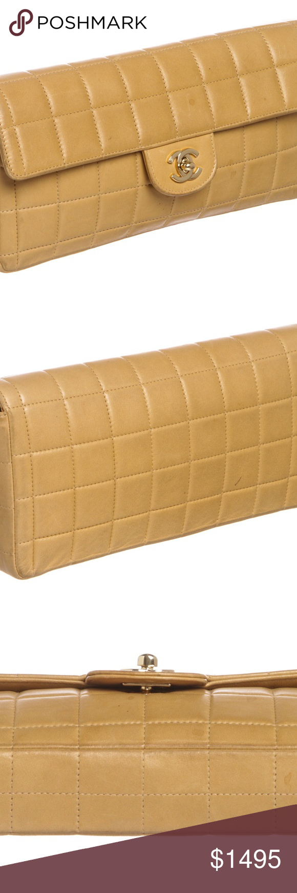 e0b76419f88b Chanel Beige Lambskin Chocolate Bar East West Flap Square quilted leather  Chanel Chocolate Bar East West