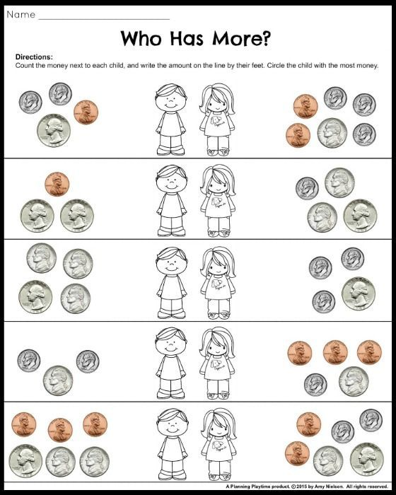 Money Worksheets for 2nd Grade - Who Earned More?
