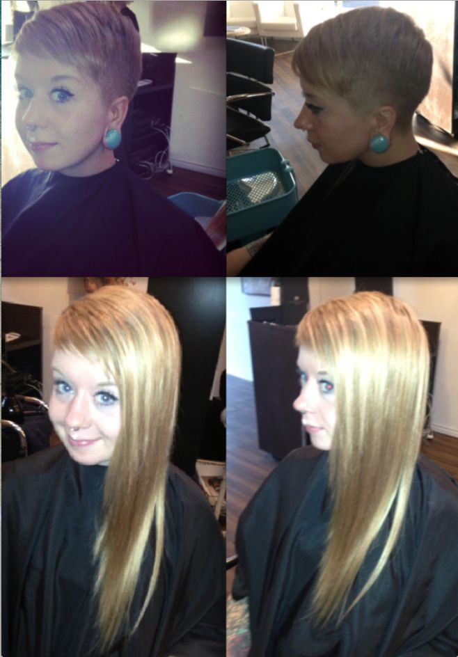 Taylor Before And After A Combination Of Tape And Bonded Extensions
