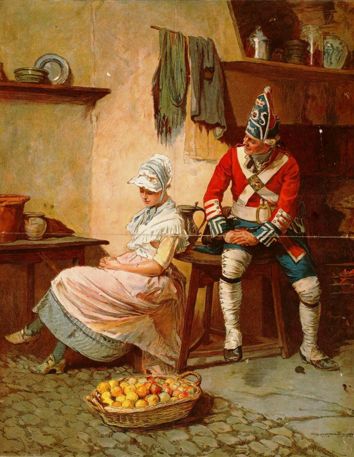 Seymour Lucas: British Grenadier and a Country Girl, ca. 1760 (1890 )