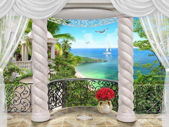 mural eastern balcony xxl wall decor imitation of a. Black Bedroom Furniture Sets. Home Design Ideas