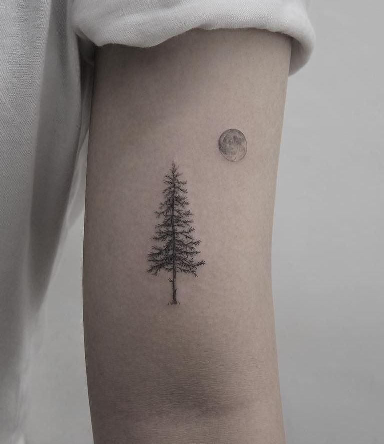 60 Inspiring Summer Tattoo Ideas Full Moon Tattoo Pine Tattoo Summer Tattoo