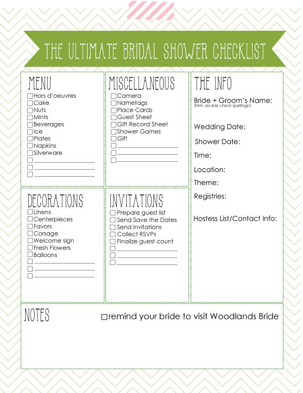 Oh One Fine Day ULTIMATE BRIDAL SHOWER CHECKLIST Bridal Shower