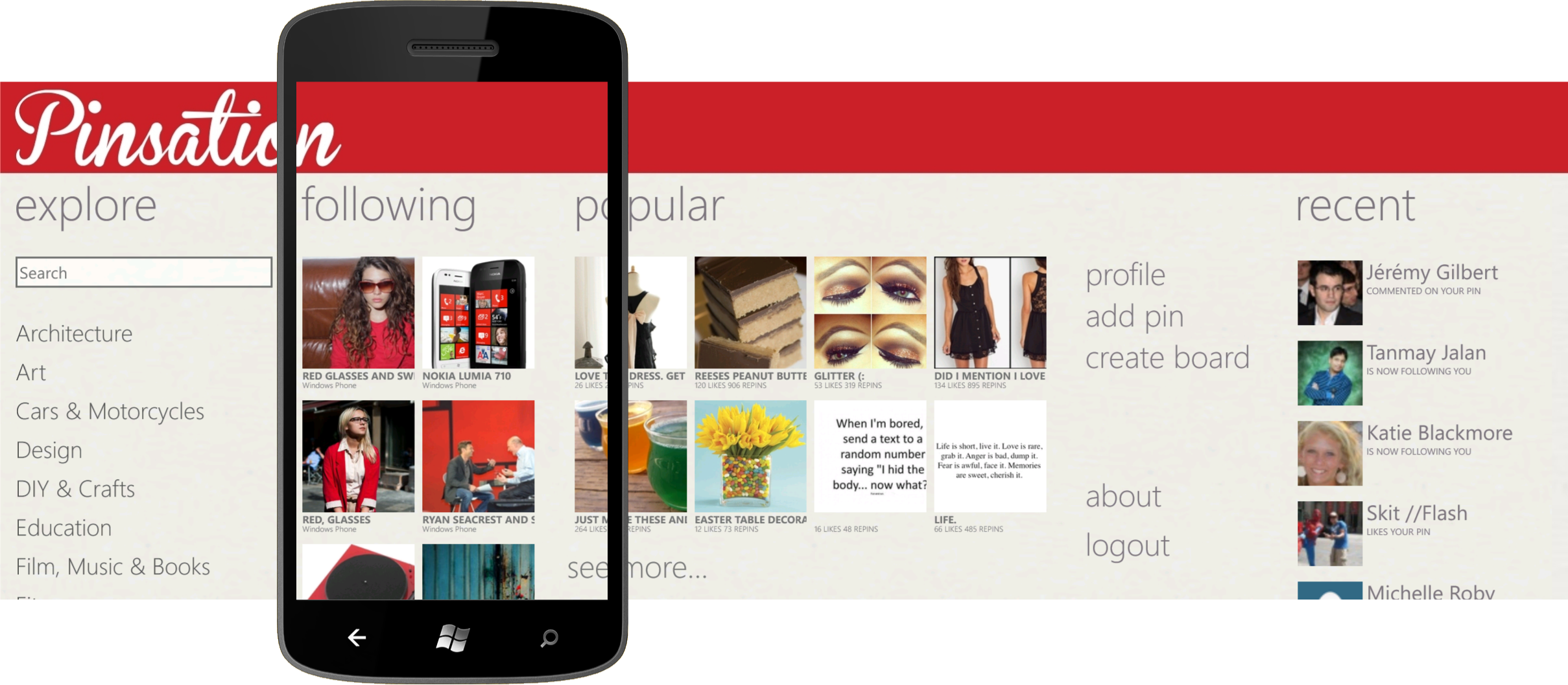 Pinsation is the premiere Pinterest app for Windows Phone