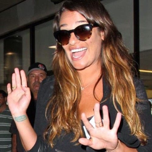 Lea Michele's everyday bauble is EF Collection's 14k yellow gold diamond bar ring.
