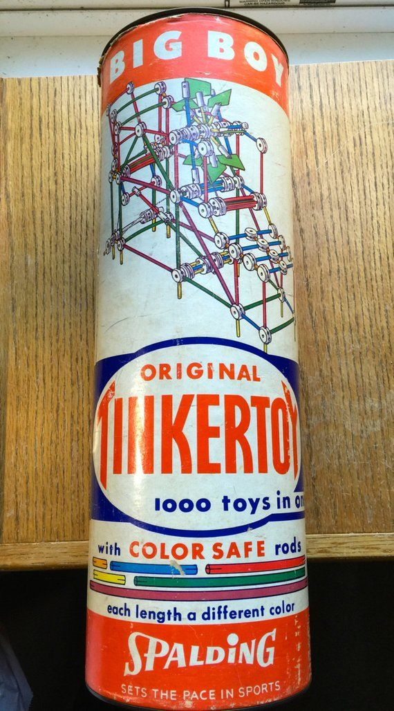 VIntage TinkerToys Huge Can 1950 Era Original Big Boy #vintagetoys