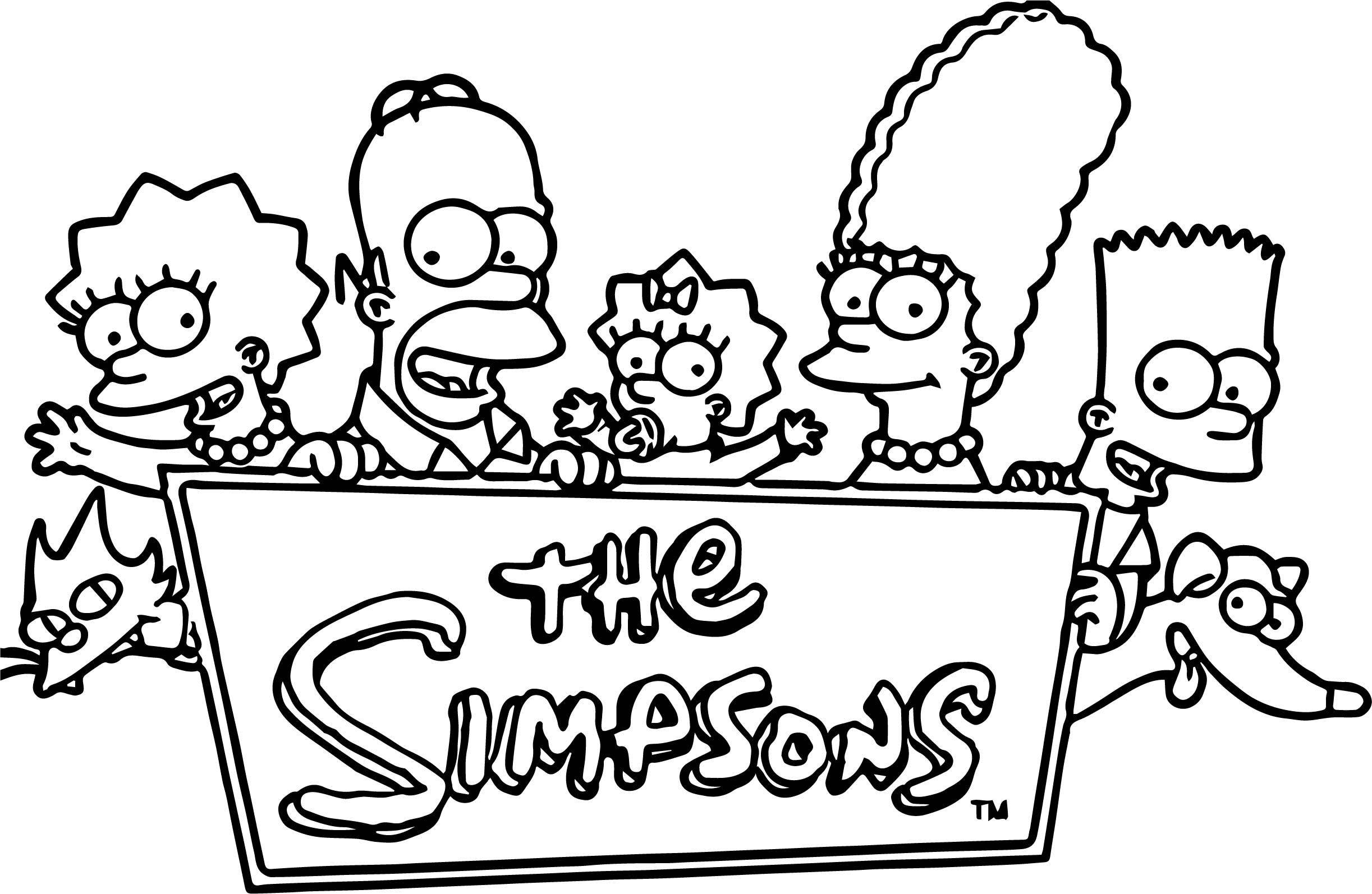 Cool Simpsons Family Logo Coloring Page Family Coloring Pages Coloring Pages Simpsons Drawings