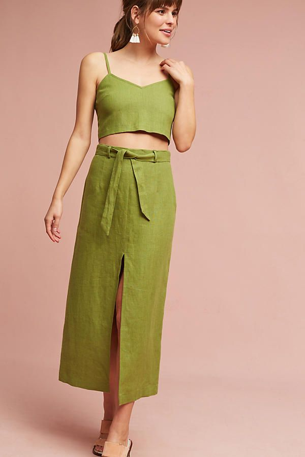 Slide View: 2: Linen Cropped Cami
