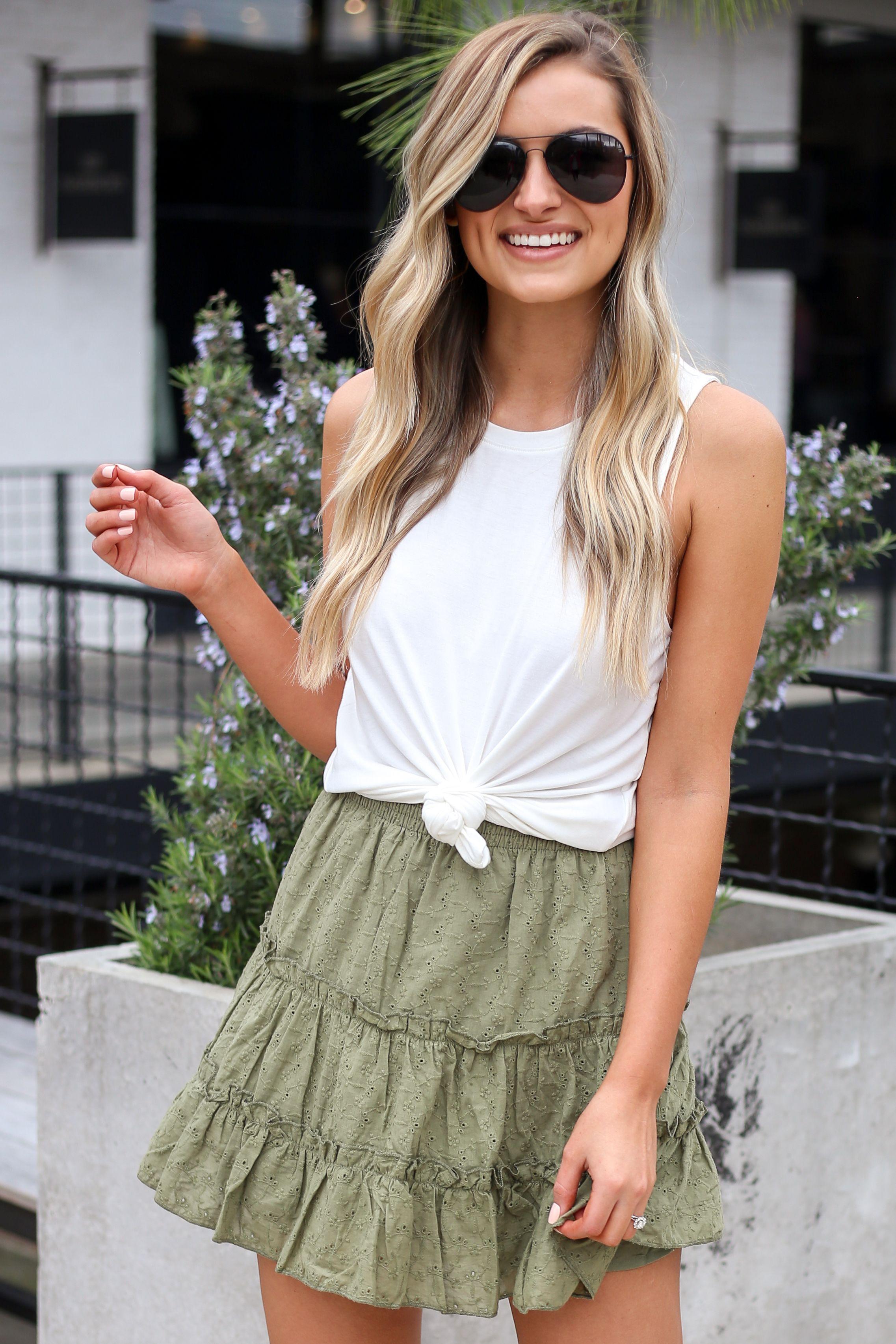 Olive Eyelet Skirt Summer Skirts Flowy Skirt Outfit Skirt Outfits Summer Flirty Outfits [ 3411 x 2274 Pixel ]