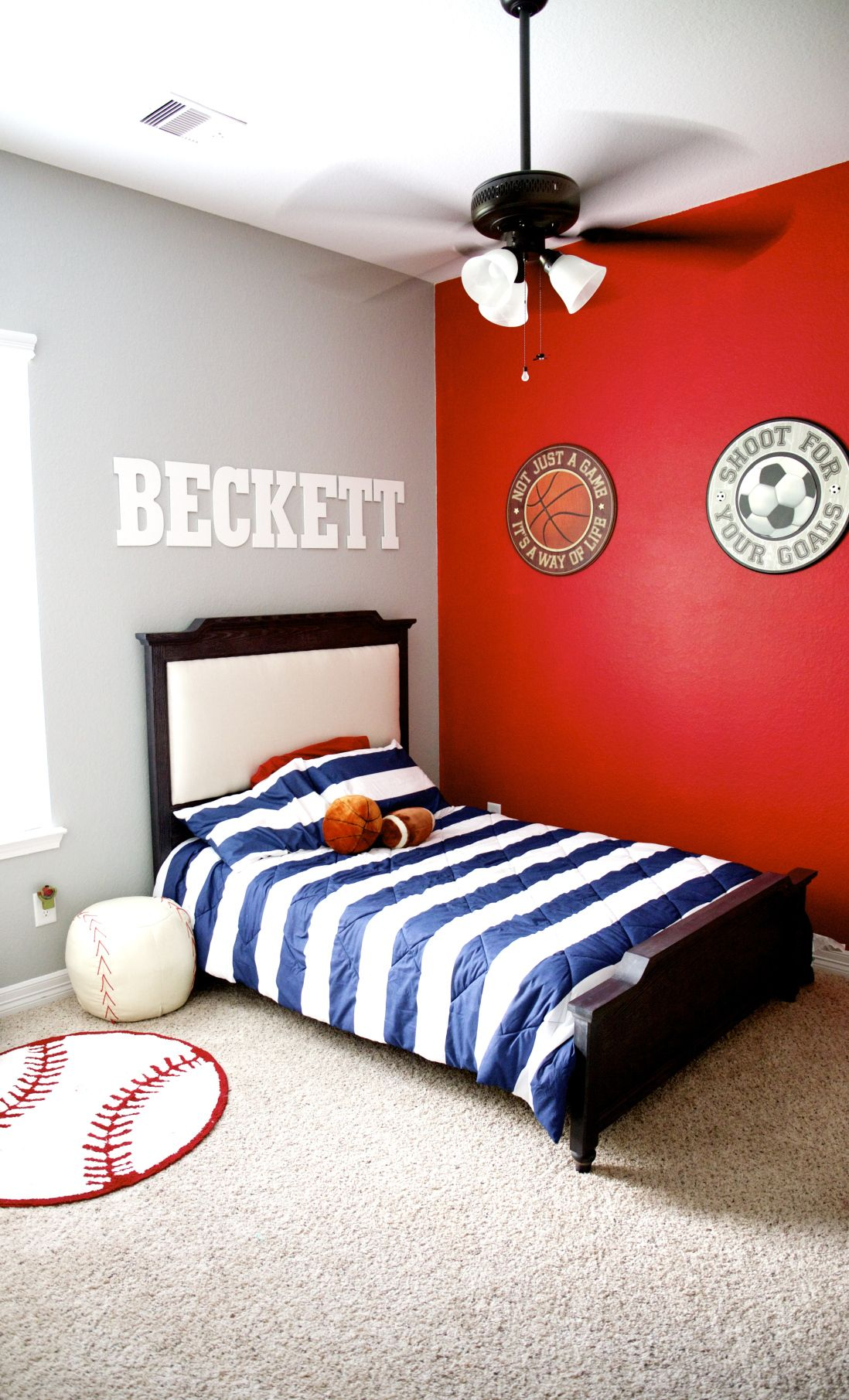 Toddler Room Reveal Dream Navy Red Sports Room Awesome Has Baseball Soccer And Football Boy Room Red Red Kids Rooms Red Boys Bedroom