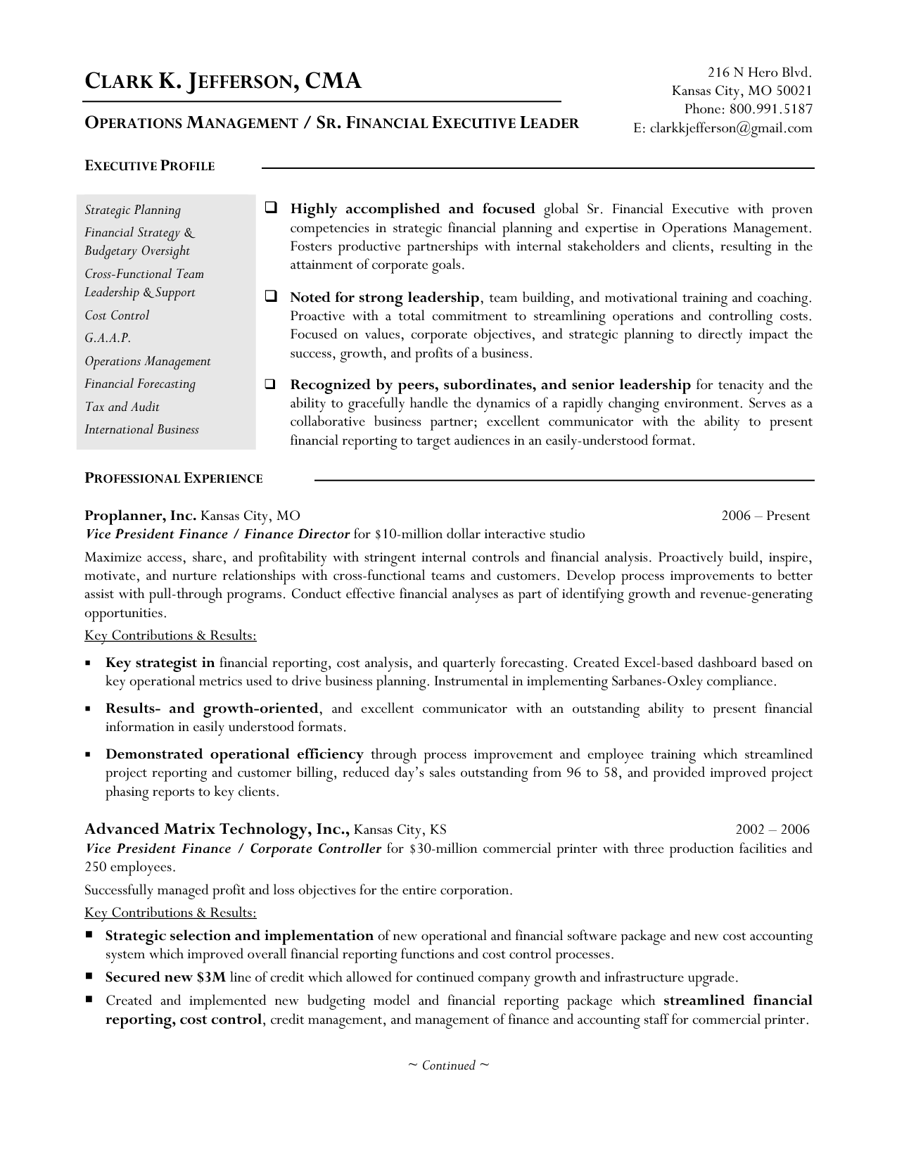 Resume Printable Operations Management With Strategic Planning With Clark K Jefferson Finance Manager Resume Png 1275 16 Manager Resume Resume Examples Resume
