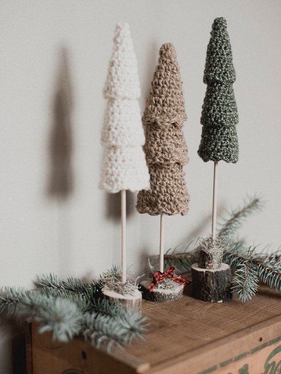 PDF Crochet Pattern for the Rustic Christmas Tree Set - Megmade with Love #christmascrochetpatterns