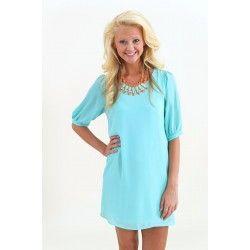 EVERLY:Sea Island Short Sleeve Tunic-Alice Blue - $42.00