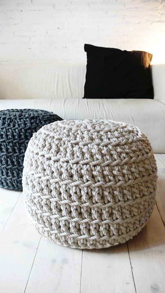 Pouf Crochet Thick Cotton linen por lacasadecoto en Etsy ...