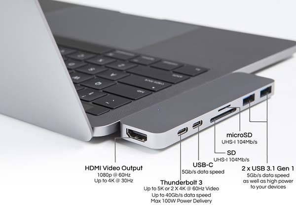 Hyperdrive Compact Thunderbolt 3 Usb C Hub For 2016 Macbook Pro
