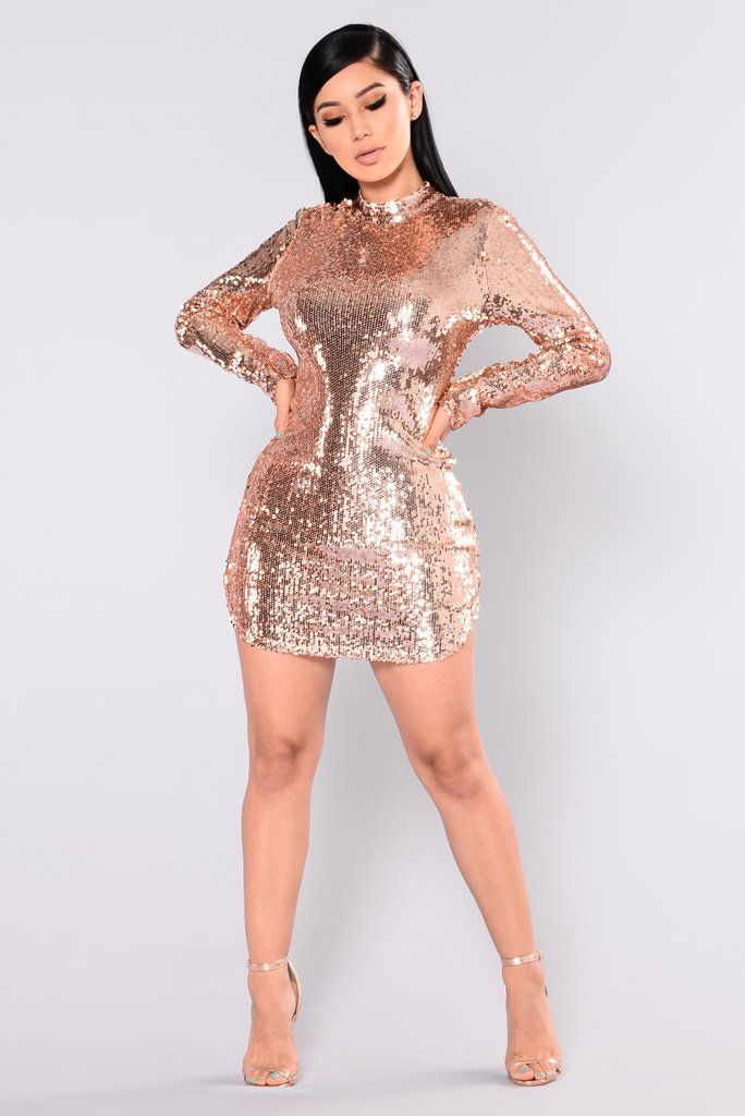 6ed3b2f128 Expose Sequin Dress - Rose Gold in 2019 | Fashion Nova | Dresses ...