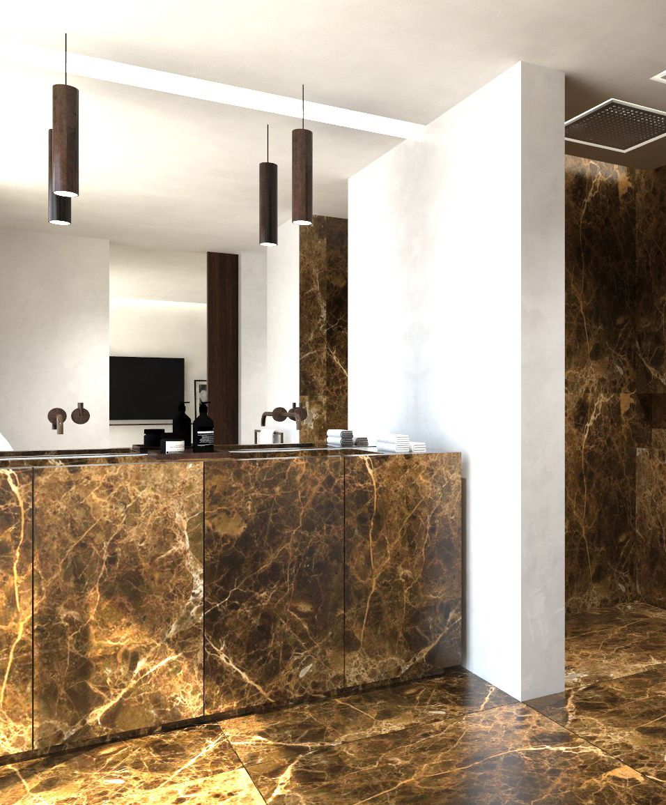 Bathroom with Emperador marble floors + vanity. (Algarve House by Dieter Vander Velpen)
