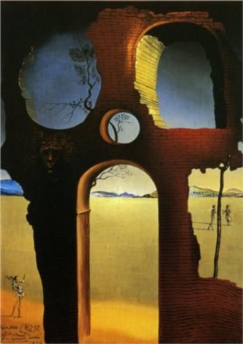Ruin with Head of Medusa and Landscape - Salvador Dali