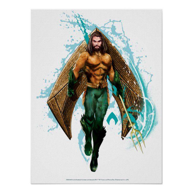 Aquaman  Prince Orin With Aquaman Logo Poster ,