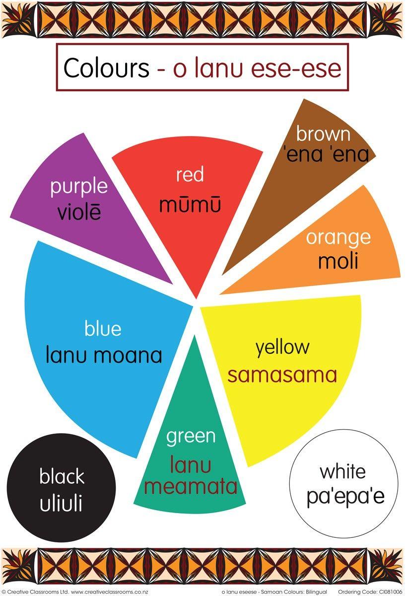 Colours Samoan Bilingual Chart World thinking day