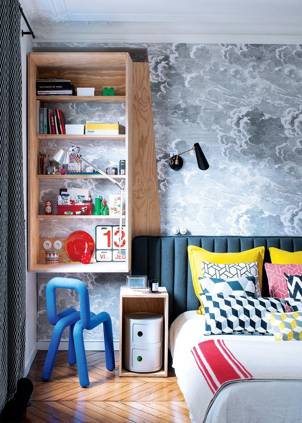 chambre en couleur avec papier peint nuage papier peint chambre papier peint chambre et. Black Bedroom Furniture Sets. Home Design Ideas