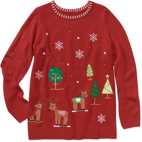 White Stag Womens Christmas Sweater Womens Plus  Walmart.com