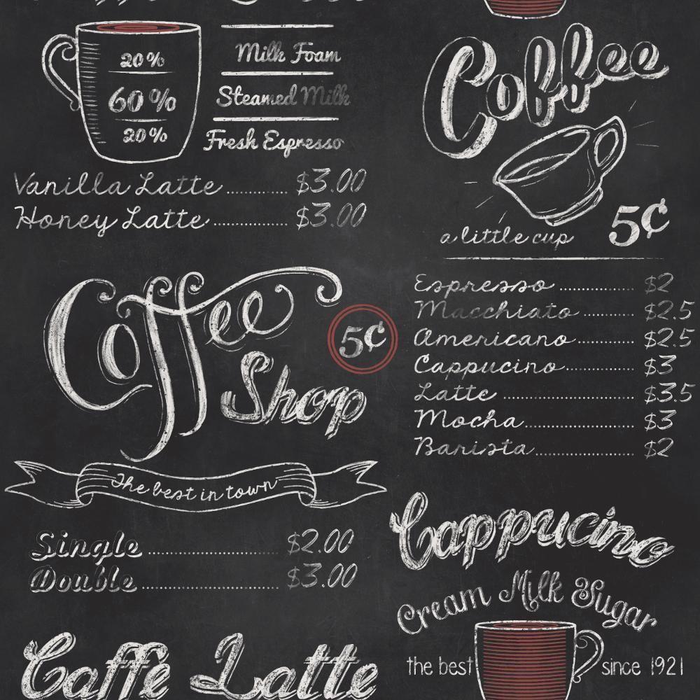 Rasch Vintage American Usa Retro Coffee Shop Black White