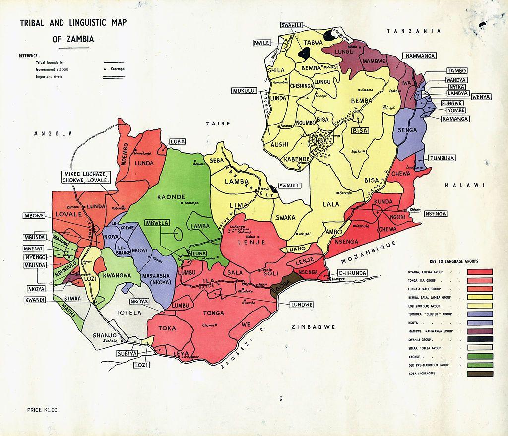 Tribal Linguistic map Zambia - Zambia - Wikipedia, the free ...