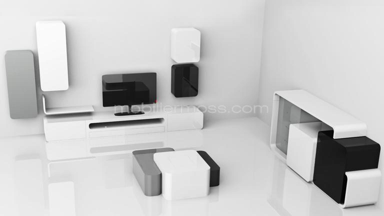 Meuble Tv Cubik Blanc Laque Design Mobiliermoss Meuble Tv Design