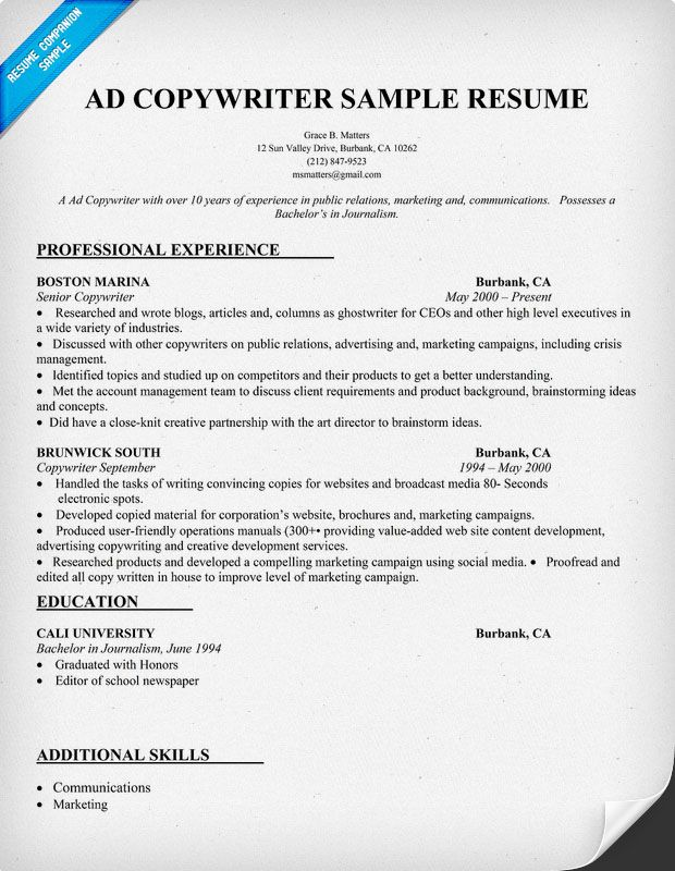 Ad Copy Writer Resume Sample (resumecompanion) Resume - copy editor resume