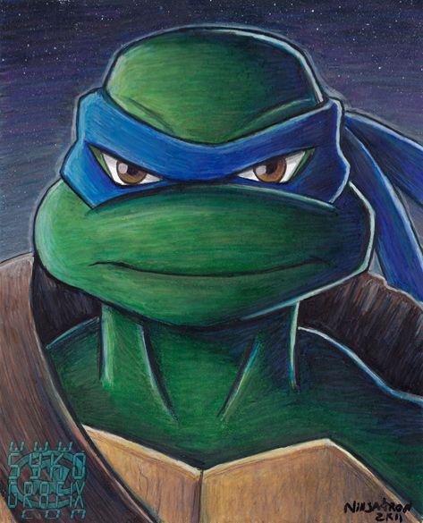 Teenage Mutant Ninja Turtles Leonardo original art colored pencil drawing