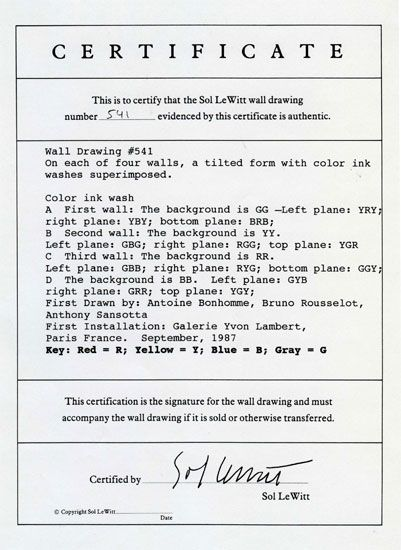 examples of certificates on the back of original art | VMFA\'s ...