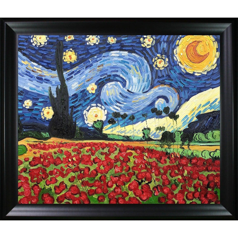 Vincent Van Gogh poppy flowers Oil Paint RePrint On Framed Canvas Wall Art Decor