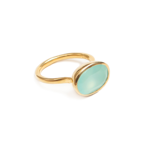 15mm x 10mm Aqua Chalcedony gemstone set in 18ct gold vermeil on solid silver ring. gemstone jewellery. Designer Rings.