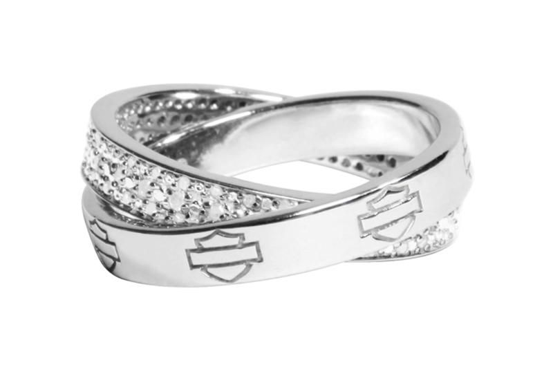 Harley Davidson Jewelry Womens H D Double Band Diamond Roll Ring Hmr0006