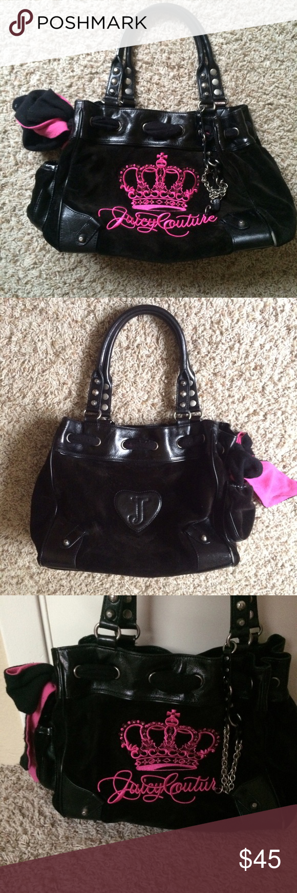Juicy couture black and pink purse Black and pink juicy couture bag with silver accents in great condition!! Juicy Couture Bags Shoulder Bags