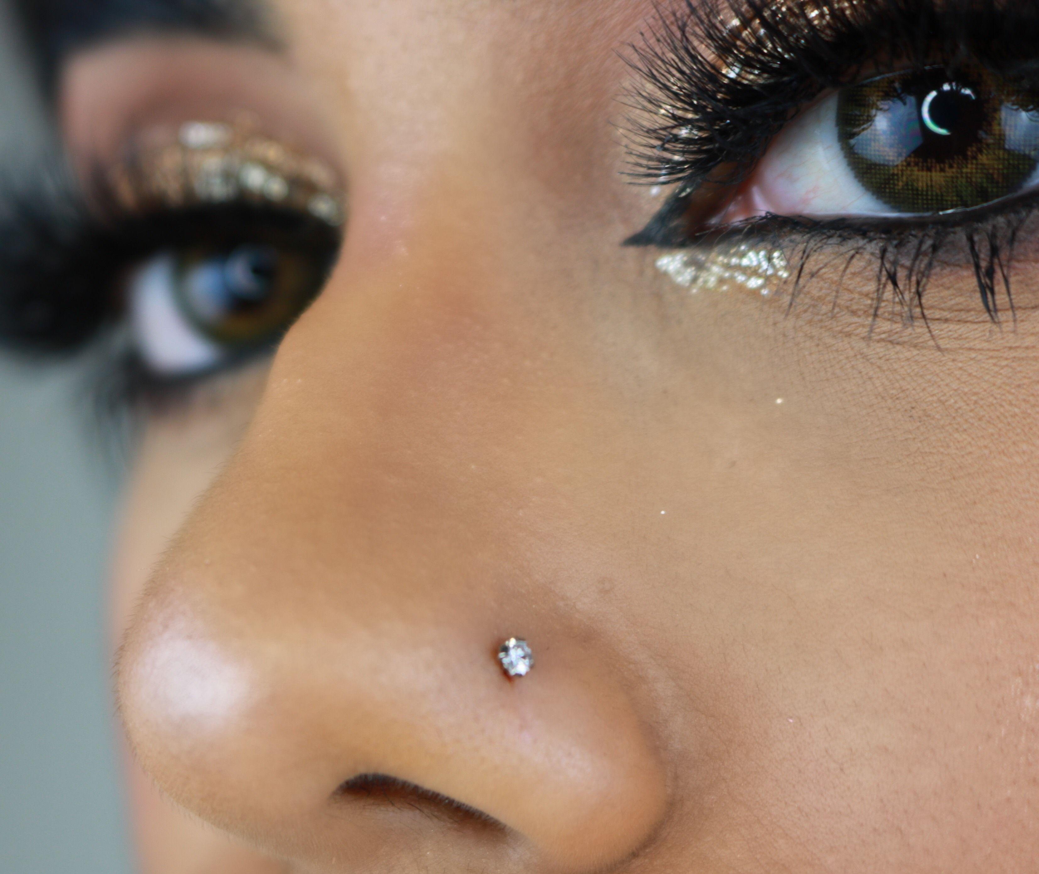 Diamond Prong Set 14k Gold Nose Ring Stud 14k Diamond Gold