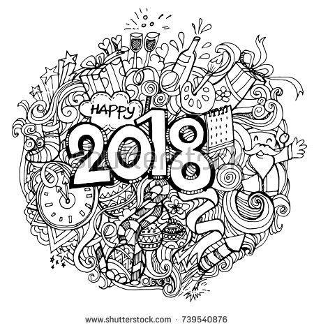 afbeeldingsresultaat voor doodle coloring new year 2018